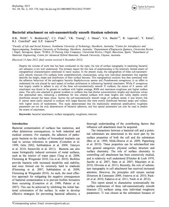 bacterial attachment on titanium films